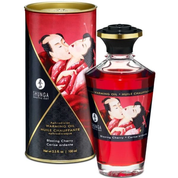 ACEITE MASAJE EFECTO CALOR SABOR INTENSO CEREZA 100  ml. by Shunga 1